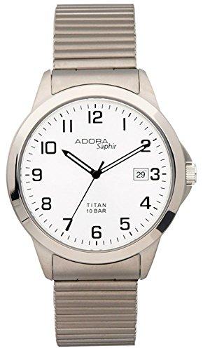 Herrenuhr Armbanduhr Quarzuhr Analoguhr Titan mit Datumsanzeige Adora Saphir 29081, Variante:03