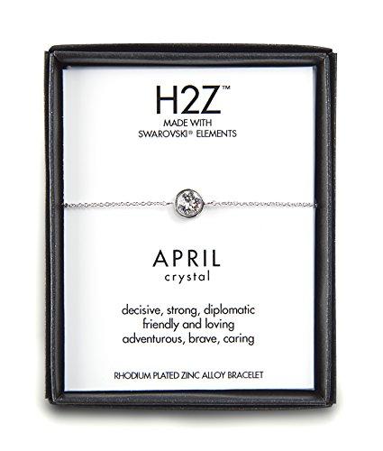 Pavilion Gift Company H2Z 16152 Pulsera Ajustable con Piedra Natal de Abril de Cristal, 7 cm