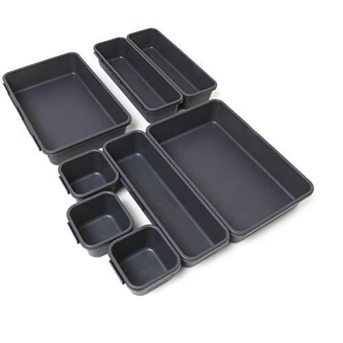 iGadgitz Home U7125 Plastik Schubladen Ordnungssystem, Schubladeneinsatz, Schubladen Organizer -Grau