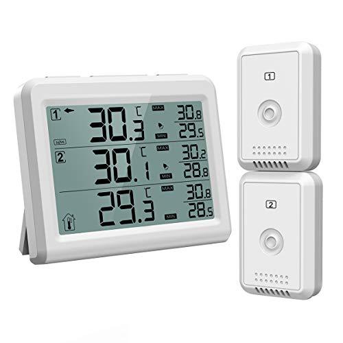 升级版 AMIR デジタル温度計 外気温度計 冷蔵庫温度計 ワイヤレス 温度計 室内 室外 冷蔵庫 二つセンサー 高精度 LCD大画面 バックライト機能付き 警報機能付き 置き掛け両用 付き置き掛け両用 最高最低温度/快適レベル/温度傾向図表示 温室 ルーム 温度管理 健康管理