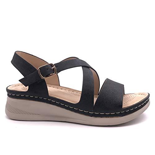 Angkorly - Chaussure Mode Sandale Sabot Style orthopédique Senior Confortable Femme Lanières croisées Effet nacré perlé Boucle Talon Compensé 4 CM - Noir 5 - D-145 T 38