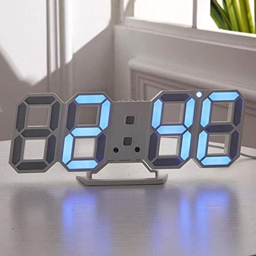 Diseño Moderno 3D LED Reloj de Pared Relojes despertadores Digitales Modernos Pantalla Inicio Sala de Estar Mesa de Oficina Escritorio Noche Reloj de Pared Pantalla-Azul