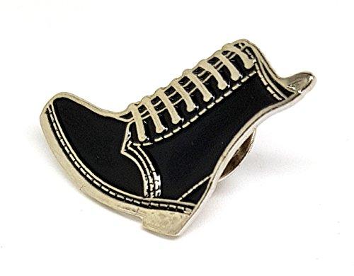 Brosche, Schwarz / Braun, DM Schuhe, Skinhead Bovver Boot Punk MOD Scooter Metall Emaille