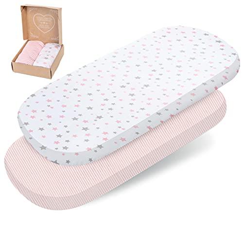 2 sábanas bajeras mimaDu para minicuna, cuna de colecho, cochecito (80x35 a 90x50 cm) – Pack de sábanas suaves 100% algodón OEKO-Tex para colchón de bebé (rosa, blanco, gris, estrellas y rayas)