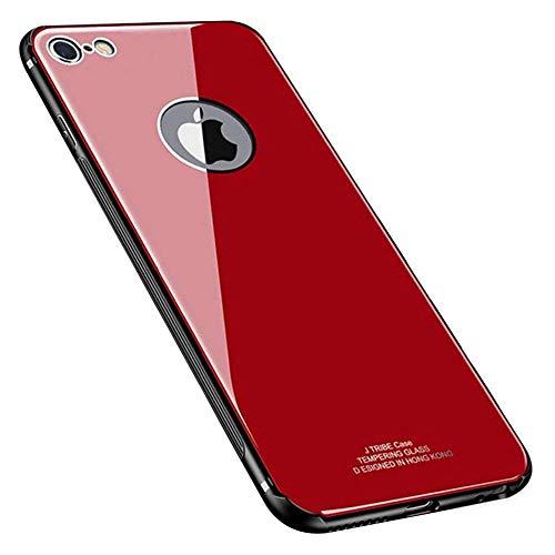 Funda Compatible con iPhone 6/6S Funda Cover Trasera de Vidrio Templado de Lujo con Marco de TPU Protección Contra Golpes Suave Protección Completa,Reflejo de Cristal Ultrafina Carcasa,Rojo