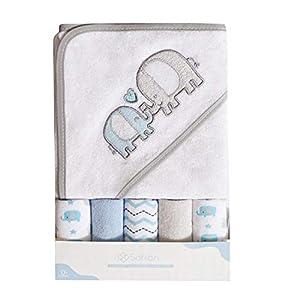 Toalla de baño con capucha y toallitas para bebé, Extra suave y ultra absorbente, Paquete de 6 regalos para recién nacidos y bebés, elefante