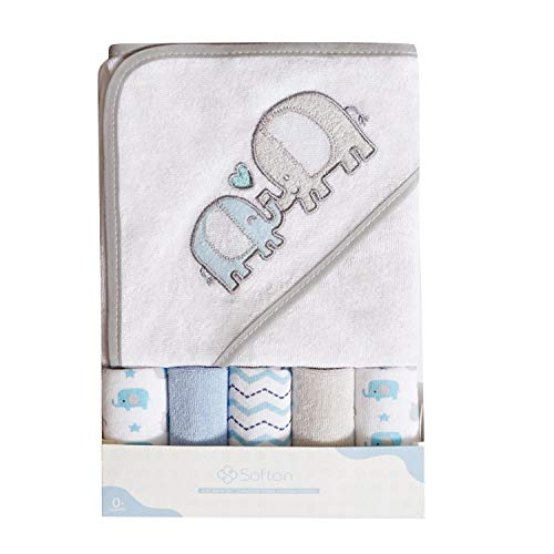 Softan Baby Kapuzenbadetuch und Waschlappen, Extra weich und ultra saugfähig, 6 Pack Geschenk für Neugeborene und Kleinkinder, Elefant