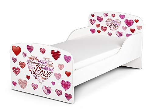 Leomark Funktionsbett aus Holz - My Love - Kinderbett mit Matratze, Holzbett mit Seitenschutz Lattenrost, Komplett Set für Kinderzimmer, Liegefläche 70/140 cm, UV-Druck