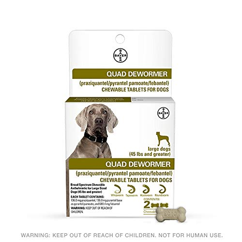 Bayer 136mg Large 45 lb + Dog 2 Count Quad Chewable Dewormer, 45 lb and Greater