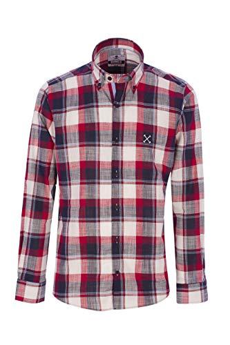 Bones Camisas DE Hombre Semi Hilo (Ver Medidas para Elegir TU Talla) (Rojo, XL)