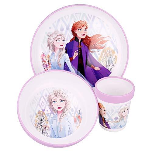 Juego de vajilla infantil de Frozen, antideslizante, apto para microondas, juego de desayuno de 3 piezas, de Anna Elsa, para camping, para niños y niñas, a partir de 6 meses, sin BPA