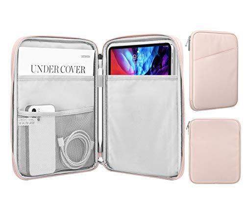 MoKo 9-11 Zoll Tablet Tasche, Polyesterfaser Tablet Schutzhülle mit Seitentasche Innentasche Sleeve Hülle Kompatibel mit iPad Pro 11 2021/2020/2018iPad 8./7. Gen 10.2/iPad Air 4 10.9, Rosa
