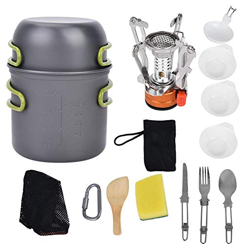 nobrands Outdoor Cooking Set 1-2 People Camping Cookware Stove Carabiner Picnic Knife Spoon Bowl Outdoor Cooking Set