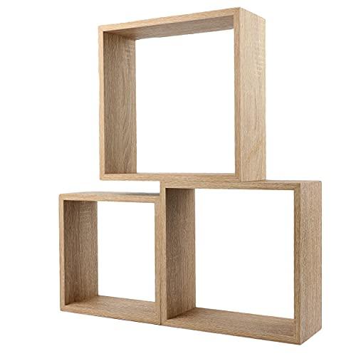 Cojunto 3 Estanterías para Pared Color Roble Blanco Forma Cubo Estantes Pared Decorativo 30/27/24cm