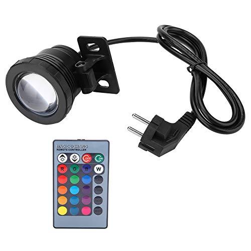Unterwasser LED Pool Lampe Fernbedienung 5W AC85-265V EU Stecker RGB LED Unterwasser Licht Wasserdichte Multicolor Spot Lampe für Pools, Steingarten, Brunnen, etc.(Schwarzer Kunststoff Aluminium)