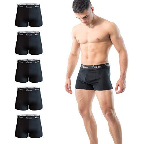 Young Buck Herren Boxershorts [5er Pack] - MADE IN EU - Männer Unterhosen - Zertifizierte Bio-Baumwolle - Herren Unterwäsche - Kein kratzender Zettel - Perfekte Passform (L, Schwarz)
