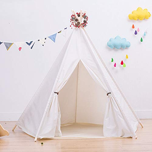 YLJB Kids Play Tent Kids Play Teepee Tent For Baby Indoor And Outdoor Playing Foldable Tipi Tents With Fun Decorations Children's Play House (Color : White, Size : 120x120x145cm)