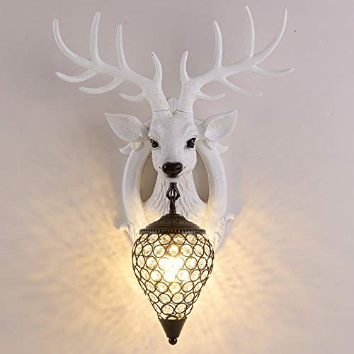 QXPuSS High Quality Resin Wall Lights, Industrial Wall Light, Personality Creative Deer Head Wall Lamp, Wall Sconce Lamp,Indoor Home Retro Lights Fixture (Including Lamp)-B