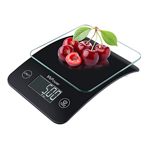 MVPower Digital Food Scale Kitchen Scale Gram Scale LCD Display Multifunction Precision Measuring With Tempered Glass Platform LCD Display 11 lb 5 kg Batteries Included