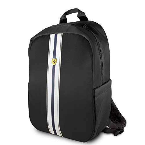 """Ferrari 15"""" Backpack Nylon PU Carbon Dual Compartment for 15.6"""" MacBook Pro Bag and a Slim-Fit Pocket for an iPad, iPad Mini, or Tablet up to 10.1'' with USB Connector Laptop Bag Black"""