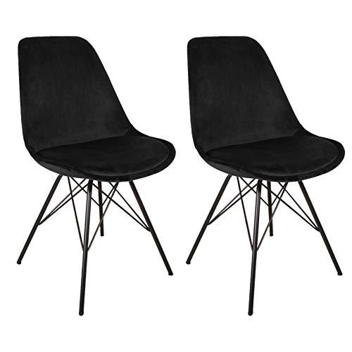 Nimara 2er Set Samt Schalenstuhl in skandinavischem Design | Esszimmerstühle, Wohnzimmer und Küchenstühle | Der perfekte Stuhl für den Esstisch | Retro Stuhl mit Metallbeinen (Schwarz)