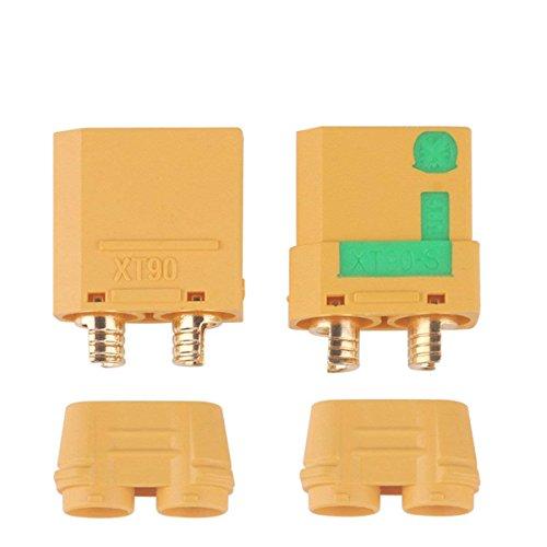 MakerStack 1 Paar XT90-S Batterie Anschlüsse, 4,5mm Anti-funken Männlich Weiblich Anschlüsse Stecker für Batterie ESC Ladekabel, RC Lipo Batterie Motor (XT90-S)