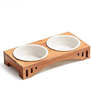 Companet Pet Raised Bowl Dog Cat Food Water Bowl Pet Dishes, Pet Feeder Pet Feeding Bowl with Detachable Raised Bamboo Stand Pet Food Feeder for Cats or Small Dogs – Cermic Bowls Double