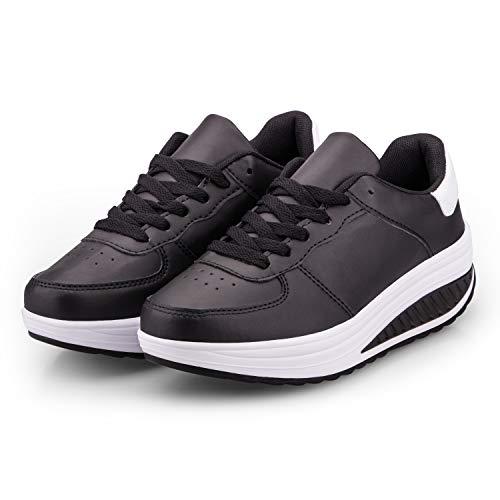Zapatillas Casual para Mujer Zapatillas de Deporte Gimnasio Zapatos Cuña Cómodos Sneakers para Trotar Compras Negro & Blanco 38