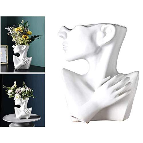 ZM-Shoes Nórdicos Cerámica Florero Geométrico Abstracto De Origami Florero con Humanos Artesanía De Arreglos Florales Figuras Decoraciones Caseras (Sin Flores),Blanco