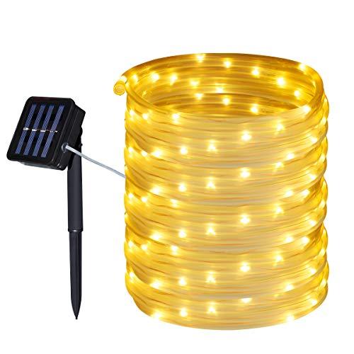 Tuokay Solar Lichterkette Schlauch Außen 10m 100 LED 8 Modi Wasserdicht LED Außenlichterkette, Dekorative Beleuchtung für Garten Balkon Pavillon Terrasse Rasen Hof Zaun Hochzeit Deko (Warmweiß)