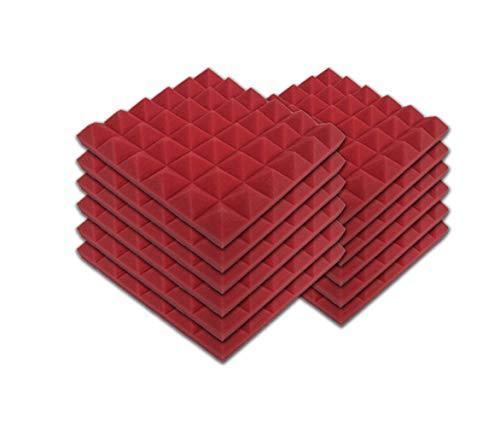 SK Studio Paquete de 12 Insonorizacion Pirámide Espuma Absorcion Aislamiento Acustica Paneles Tratamiento 30x30x2.5cm, rojo