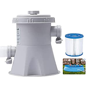 ✯【High-efficiency Filtration】The filter pump runs with low power consumption and high efficiency. The flow rate of the pump is 300 gallons per hour. Pool filter pump can self-circulate and filter the water to improve the clarity of the water surface....