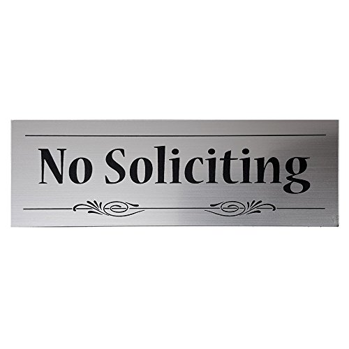 Decorative No Soliciting Sign (Brushed Silver) - Small