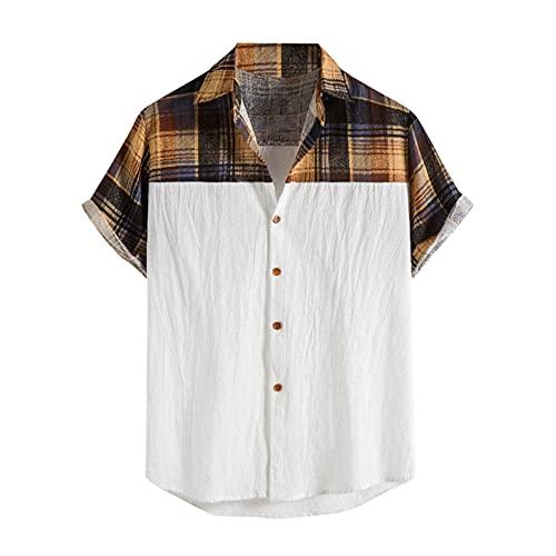 YUTING Camisa de manga corta para hombre, de verano, informal, estampada, de algodón y lino, con botones Blanco_1 XL