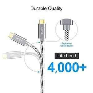 Cable USB C a USB 3.1 Micro-B (Gen 2/10G), Cable Trenzado de 1 ft Micro USB 3.1 Tipo C para Apple MacBook (Pro), Chromebook Pixel, Disco Duro Externo HDD y teléfonos, 0,3 M / Gris