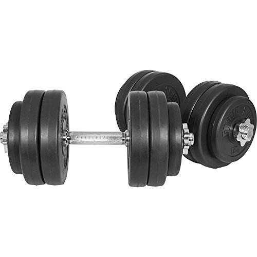 GORILLA SPORTS® Kurzhanteln 2er Set Kunststoff 30 kg – Hantelstangen, Gewichte und Sternverschlüsse gerändelt 30/31mm