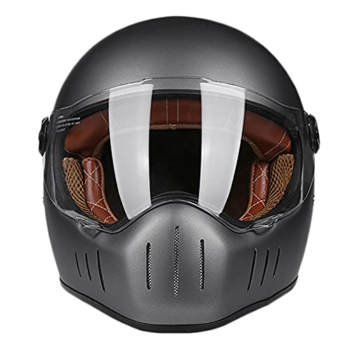 KFL Casco de Moto de Cara Completa Casco ECE de Motocicleta para Adultos con Escudo Transparente antivaho para Hombres y Mujeres, Gris Mate L