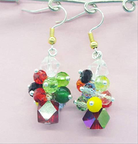 YMKCMC Collar Colgante De Perla Barroca Rosa Y Cristal Antiguo De 3-4 Mm.Muy Señoras Hermosas Colgante De Collar De 18
