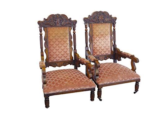 2 antike Sessel Gründerzeit um 1880 aus Eiche mit rotem Polster | Clubsessel Polstermöbel 2er Set| B: 74 cm (9804)