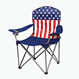 Kamp-Rite KAMPAFC141 Outdoor Camping Furniture Beach Patio Sports Folding Quad Lawn Chair with Cup Holders, USA Flag
