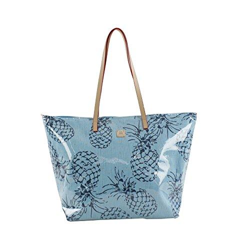 For Time, Bolso de playa Pineapple para Mujer, Azul, 58x38 cm