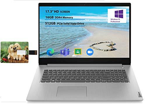 "Newest Lenovo Flagship Ideapad 3 17 Laptop 17.3"" HD+ Anti-Glare Intel Quad-Core i5-1035G1(Beats i7-8550U) 16GB RAM 512GB SSD for Business and Student Webcam Dolby Windows 10 Pro | 32GB Tela USB Card"