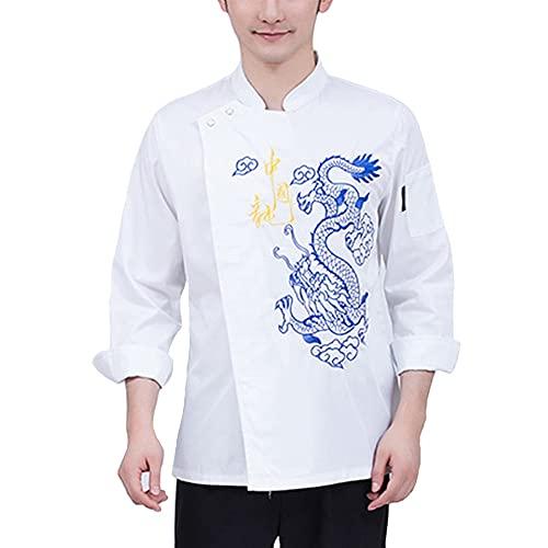 LIRONGXILY Chaquetas de Chef Hombres Chaqueta de Chef, Personalizado Bordado Manga Larga Chaqueta de Chef Restaurante Cocina Uniforme de Chef (Color : White, Size : B(L))