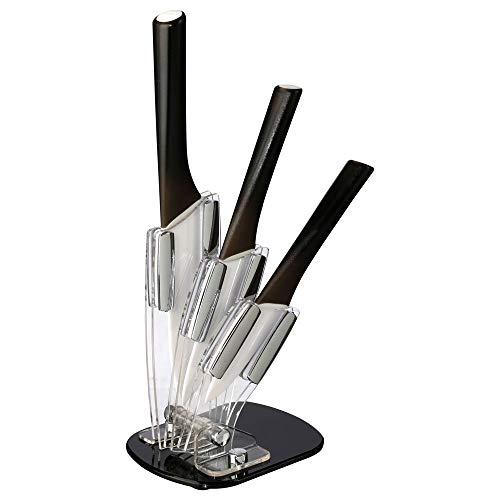 SECRET DE GOURMET Set 3 Couteaux céramique + Support