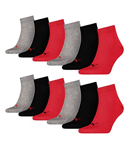 Puma 12 Paar Unisex Quarter Socken Sneaker Gr. 35-49 für Damen Herren Füßlinge, Socken & Strümpfe:35-38, Farbe:232 - black/red