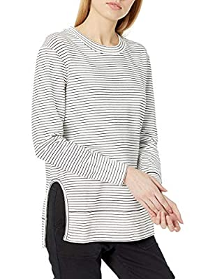 Amazon Brand - Daily Ritual Women's Terry Cotton and Modal Pullover with Side Cutouts, Black-White Skinny Stripe, Medium