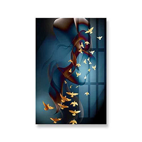 Moderne Abstracte Canvas Schilderij Muur Art Deco Afbeelding Van Vis Vlinder Abstracte Vogel Kunst Poster Kleur Canvas Print Voor De Woonkamer 50X70Cm (P: 0448)