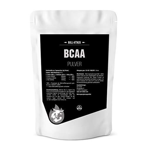 BCAA PULVER von Bull-Attack - 500g Reines, hochwertiges Pulver ohne Zusätze - L-Leucin + L-Isoleucin + L-Valin - Im Verhältnis 2:1:1 - Essentielle Aminosäuren Antikatabol + Anabol -Muskelaufbau, Muske