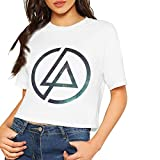 after Custom Personality Linkin-Park Band Printing Crop Top Summer Short T-Shirt for Female Camisetas y Tops(Large)