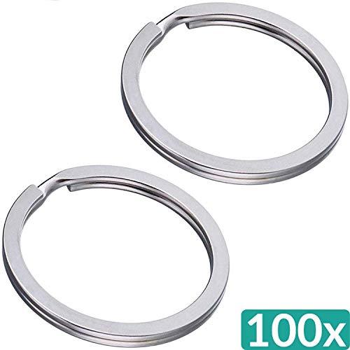 Preisvergleich Produktbild 100 Schlüsselringe Flach 30mm - Stahl Gehärtet - Vernickelt - für Schlüsselanhänger